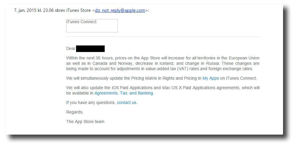 Meldingen som ble sendt ut fra Apples App Store Team. Foto: Skjermdump