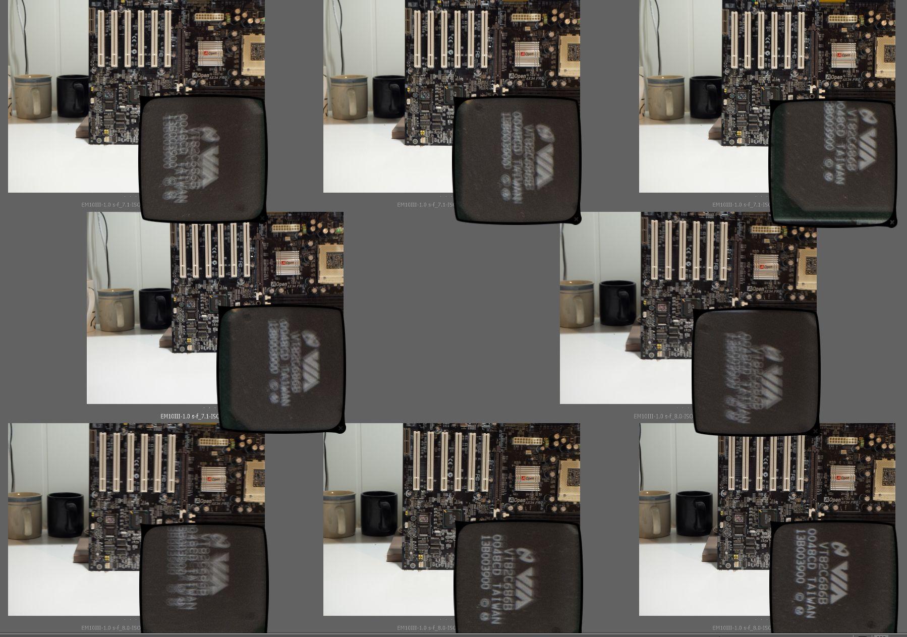 Bildene er tatt håndholdt, med støtte for albuene, med en lukkertid på 1 sekund. Bilde: Montasje
