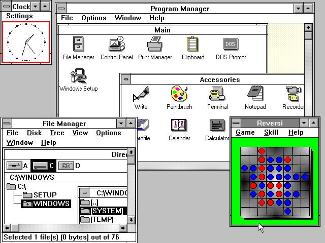Windows 3.0 hadde mange spennende nye funksjoner å by på.