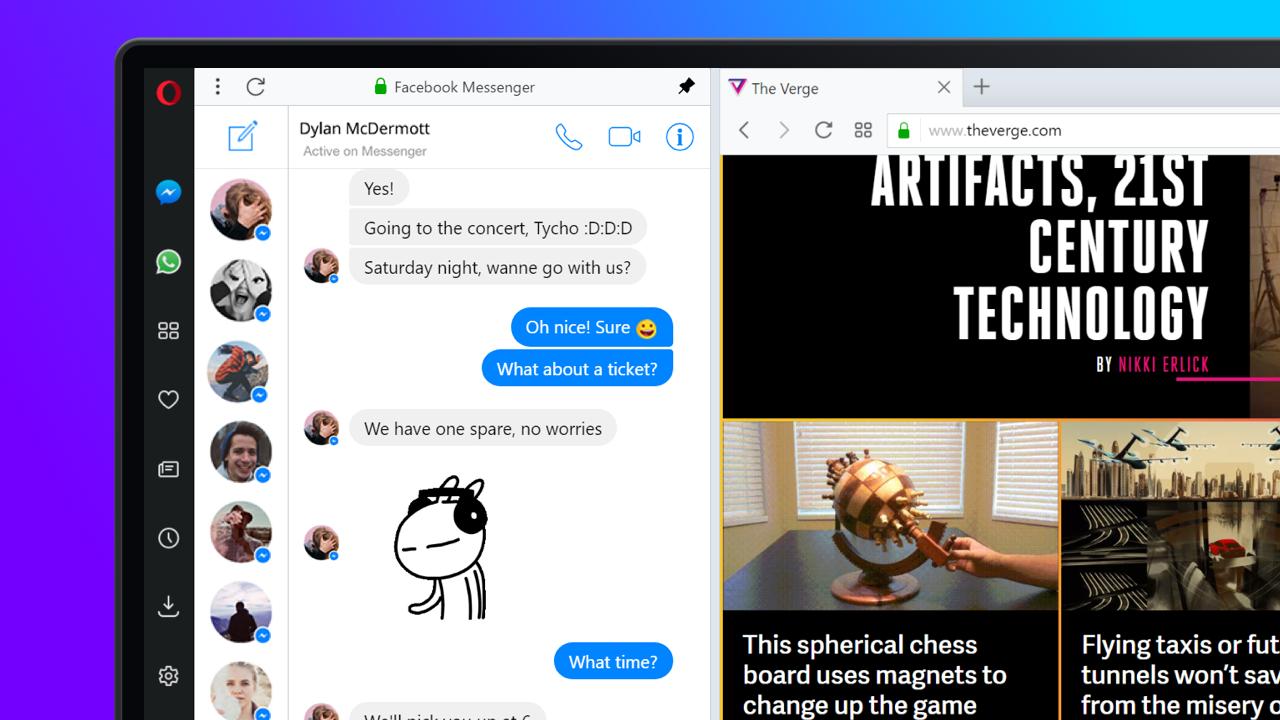 Opera lever fortsatt i beste velgående, og kommer nå med Messenger innebygget