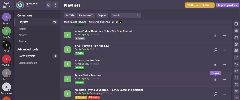 i dette eksemplet har vi koblet til både Spotify, hvor vi er kunde, og Tidal, som vi ønsker å overføre Spotify-spillelistene til.
