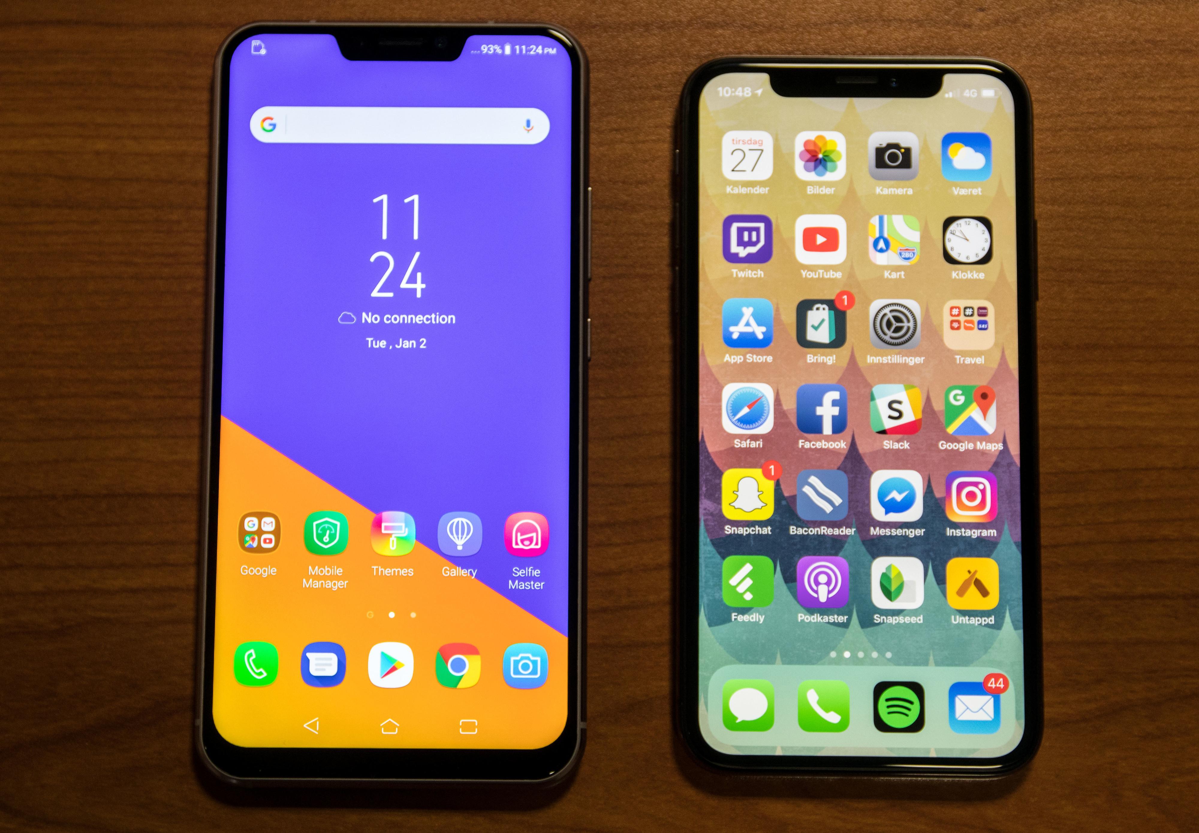 Om Asus «kopierte» designet fra iPhone X skal vi ikke si, men det er ingen tvil om at de to mobilene ser litt like ut.