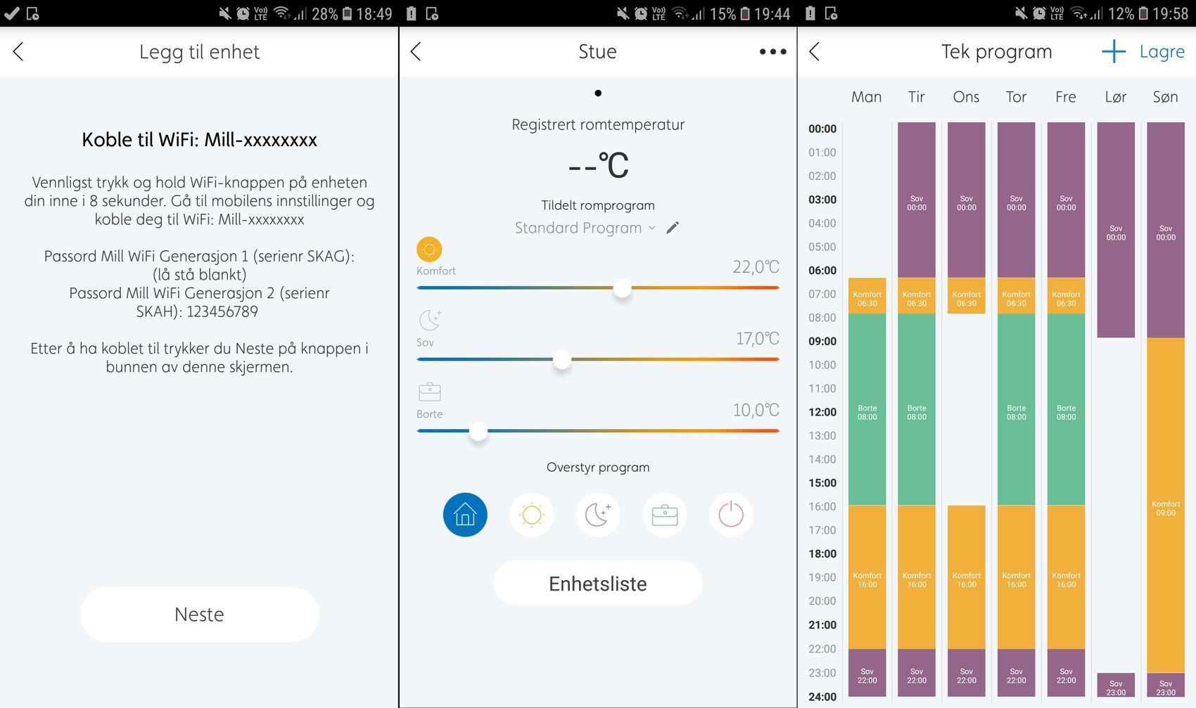 Slik så Mill-appen ut da vi testet smarte panelovner for et drøyt år siden. Da med servertilkobling.