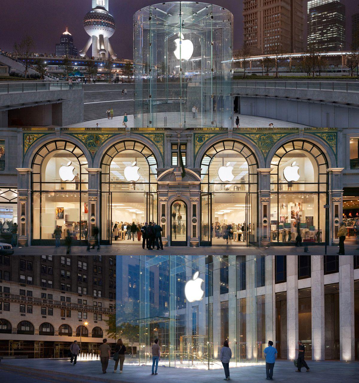 Apples flaggskip-butikker pleier å sette design i fokus. Ovenfra: butikkene i Shanghai, London og New York. Apple