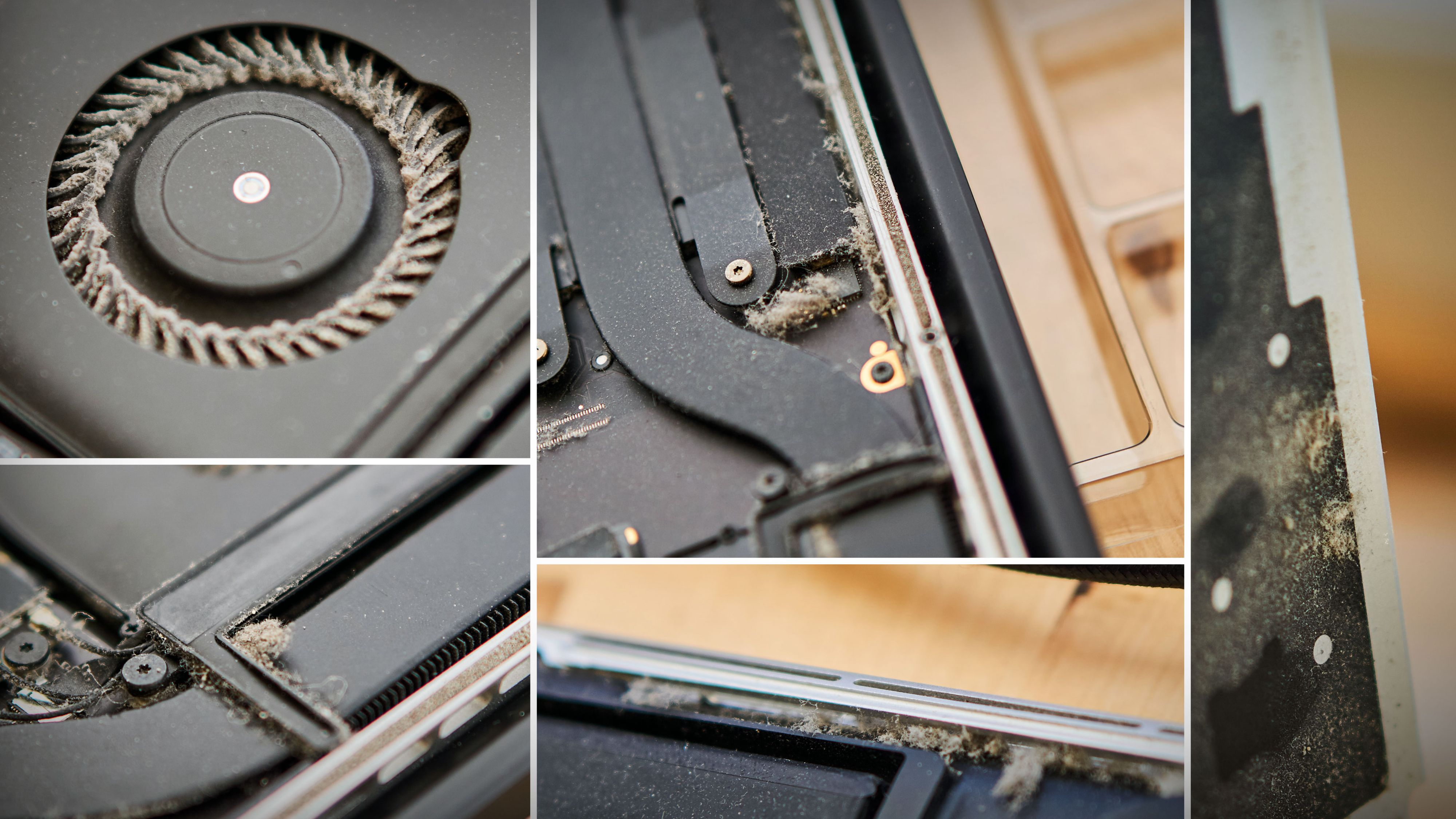 Slik skal det helst ikke se ut på innsiden av en laptop.