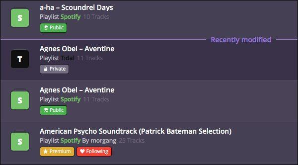 Slik ser det ut når en spilleliste med låter fra Agnes Obels «Aventine» er overført fra Spotify til Tidal. Spillelisten nederst er kurert av Spotify og koster penger å overføre, men kopier over filene til en egen spilleliste i strømmeprogrammet ditt, så slipper du å åpne lommeboka.