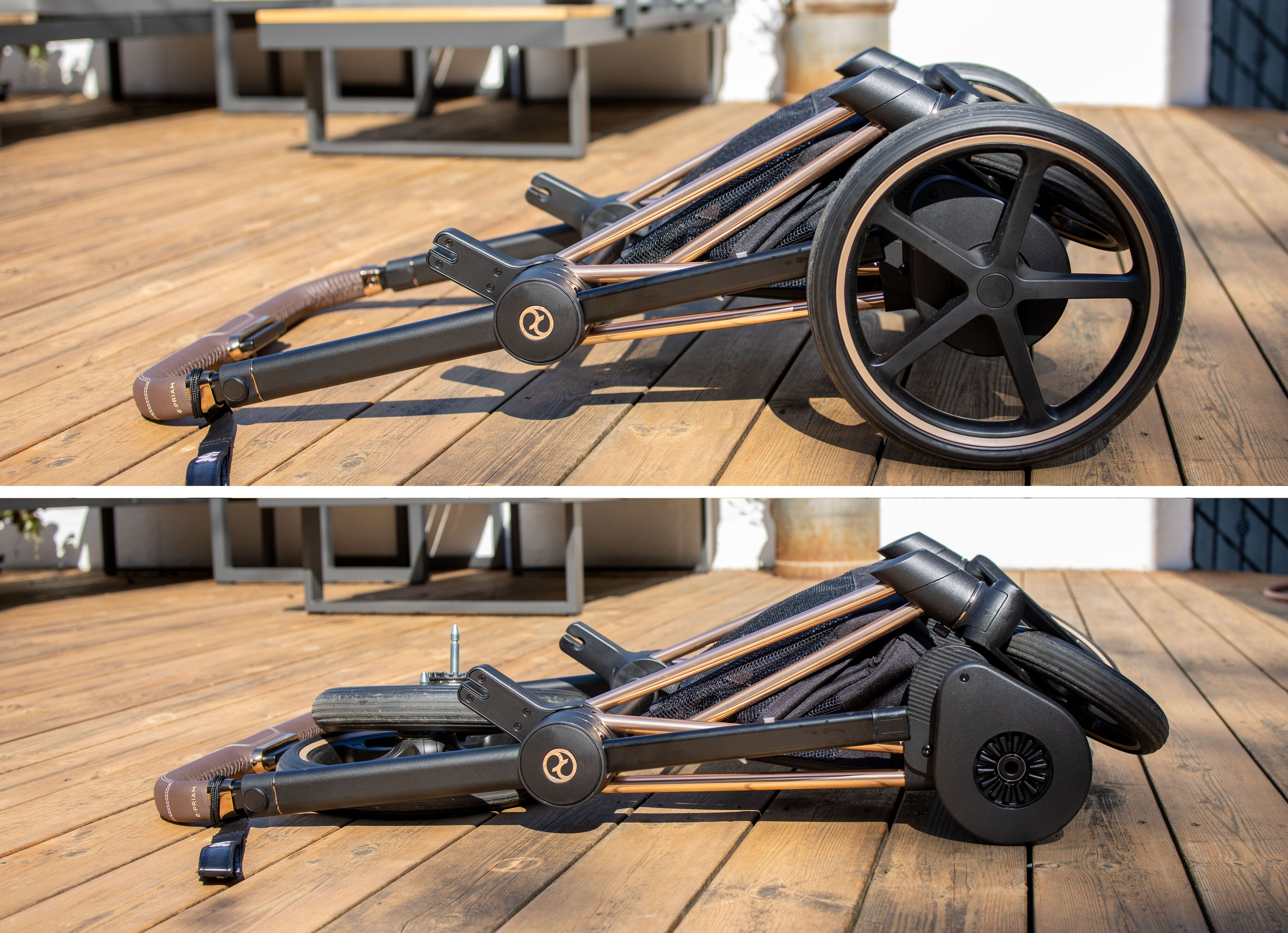 Vognen er enkel å folde sammen, og blir ganske så liten, spesielt hvis man tar av hjulene. Dette gjør man med et enkelt trykk på en utløserknapp ved hvert hjul, og de klikker enkelt tilbake igjen.