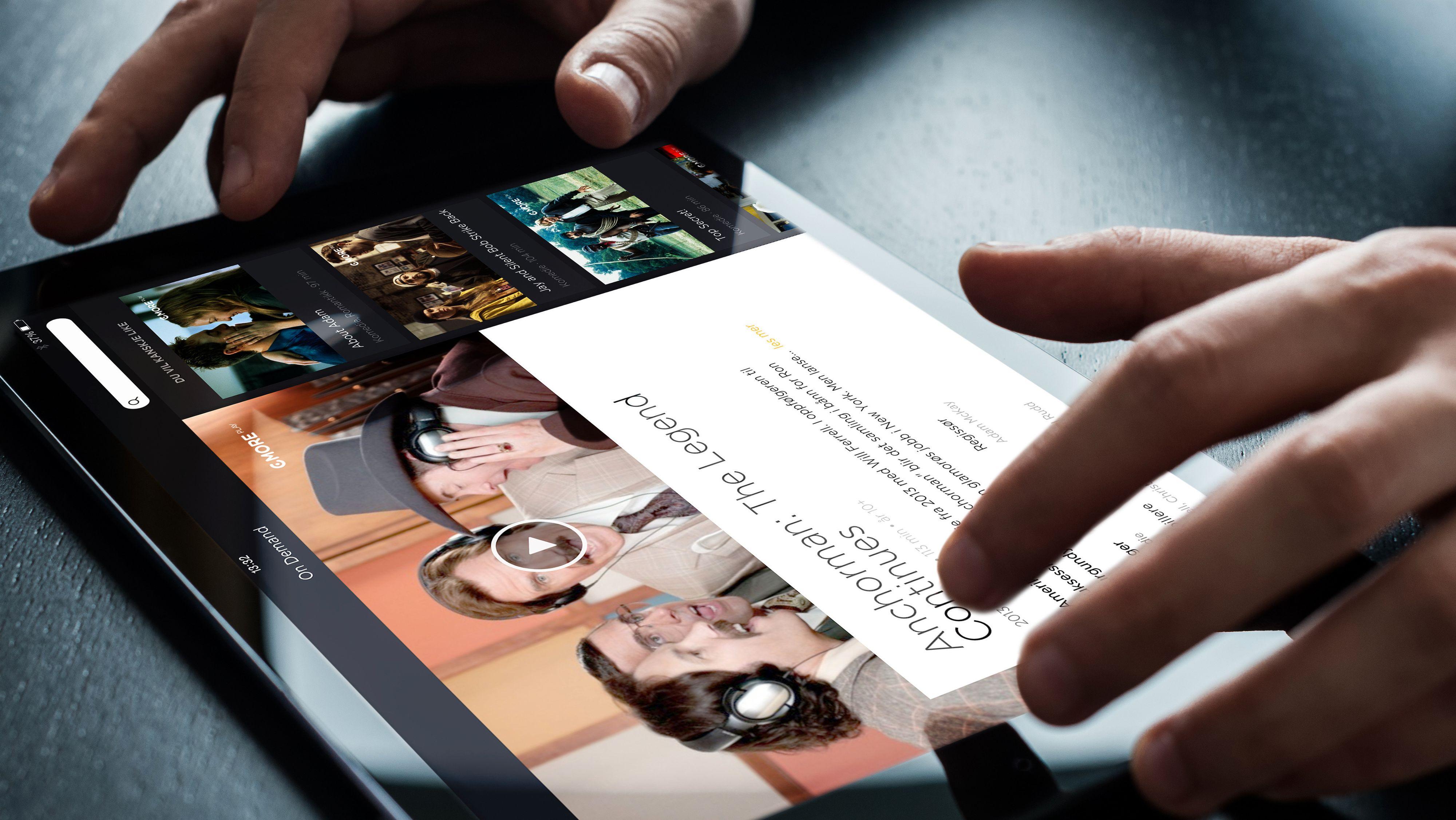 iPaden begynner å ta en rolle som TV nummer to. Her Canal Digitals nye grensesnitt.Foto: Canal Digital