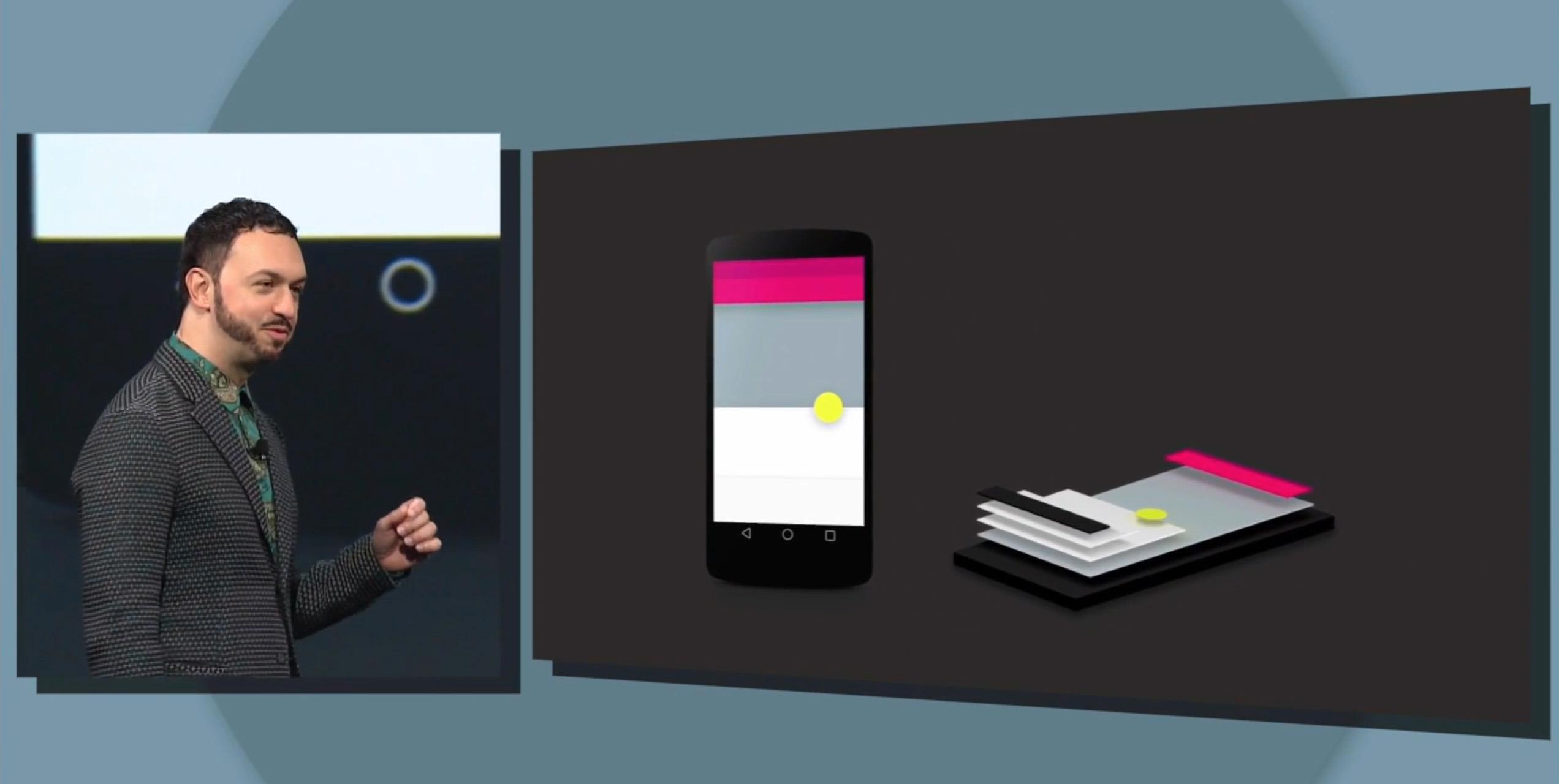 Matias Duarte er visepresident for design i Android-plattformen, og viste i kveld frem den nye designen Android L vil få.Foto: Skjermdump/Google