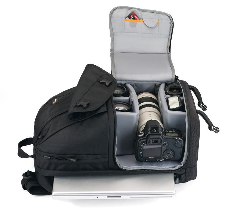 Med LowePro Fastpack 350 får du plass til det essensielle utstyret og litt til, samtidig som kameraet er lett tilgjengelig når du er på farten. Foto: Lowepro, via Prisguide.no