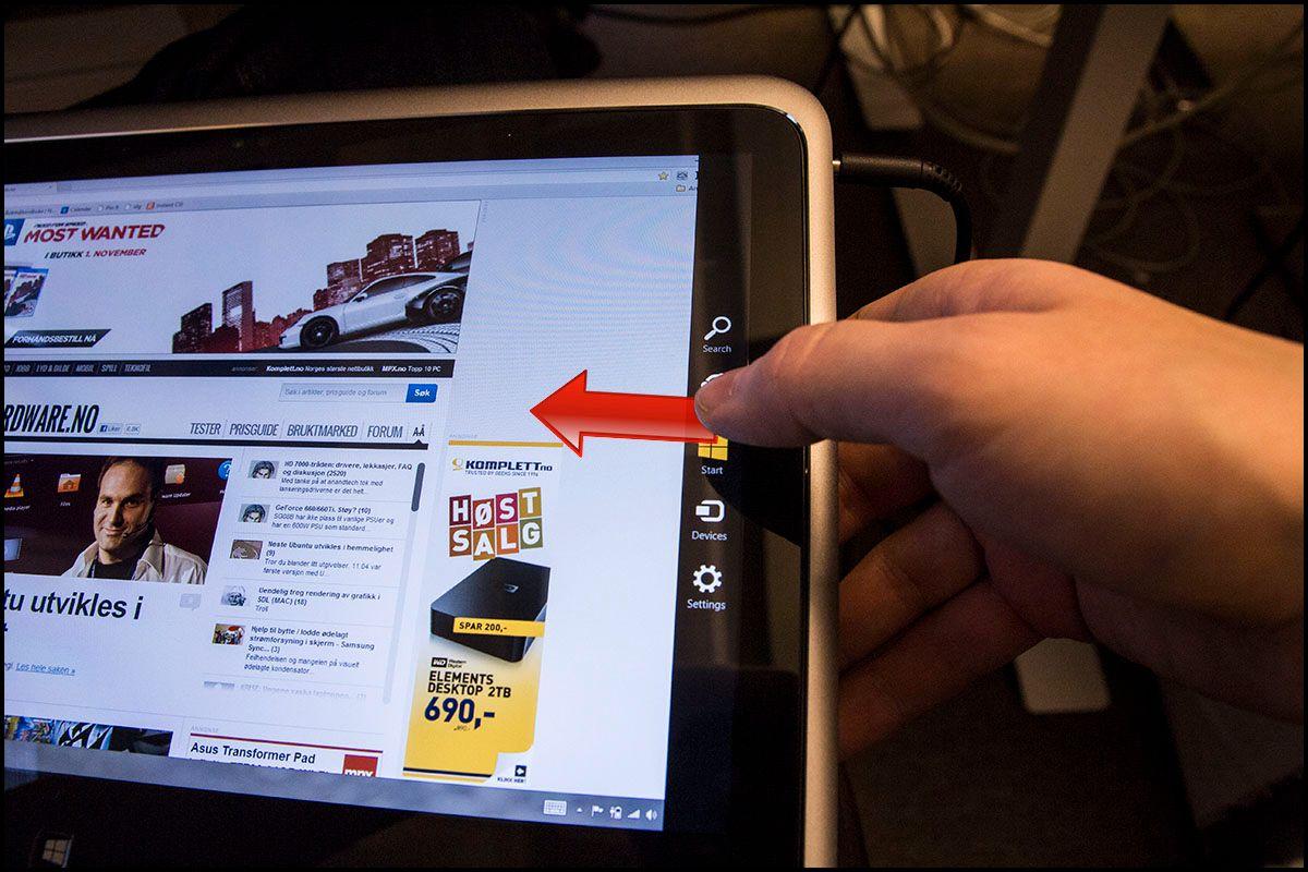 Dra fingeren inn fra høyrekant for å få opp den nye Charms-menyen.Foto: Hardware.no