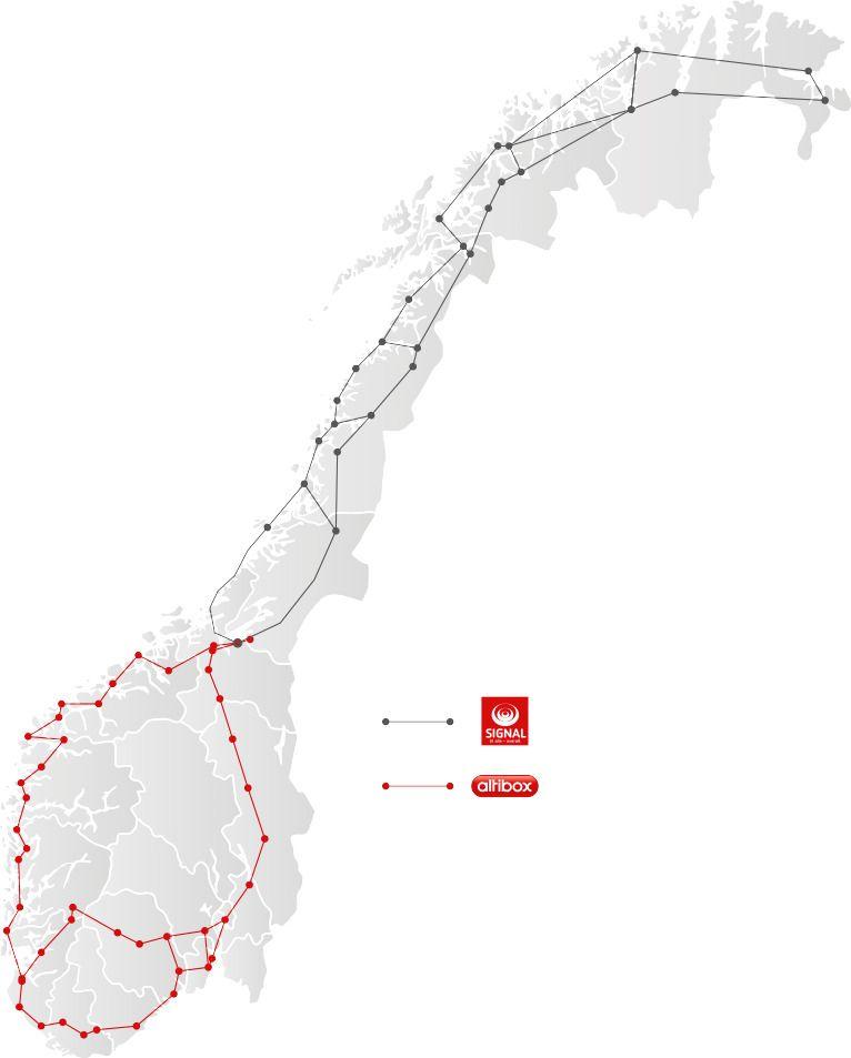 De røde linjene er Altibox kjernenett i sør, de svarte tilhører Lyse-eide Signal Bredbånd, og dekker Nord-Norge.