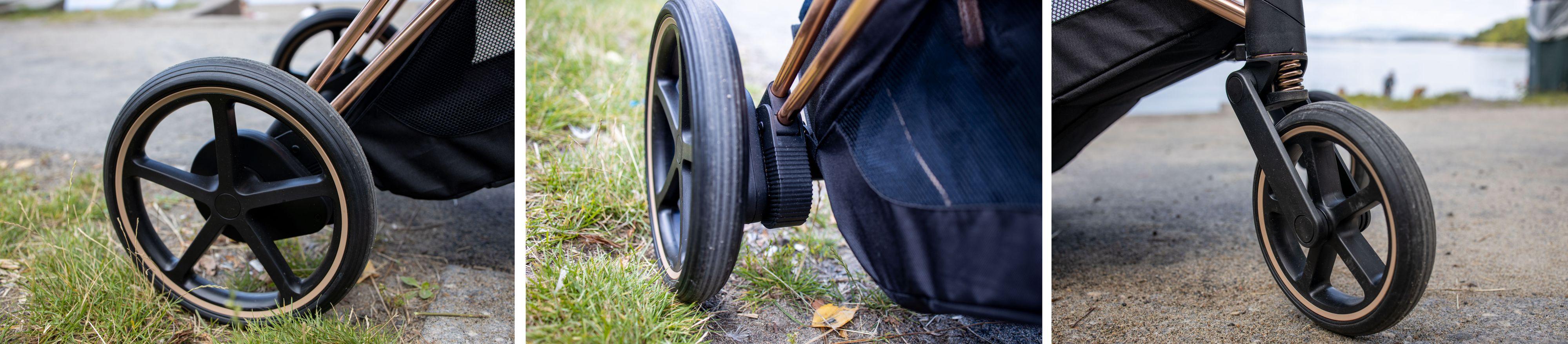 Alle fire hjul er støtdempet, og byr på en veldig myk og behagelig rulletur. Både for passasjer og dyttelakei.