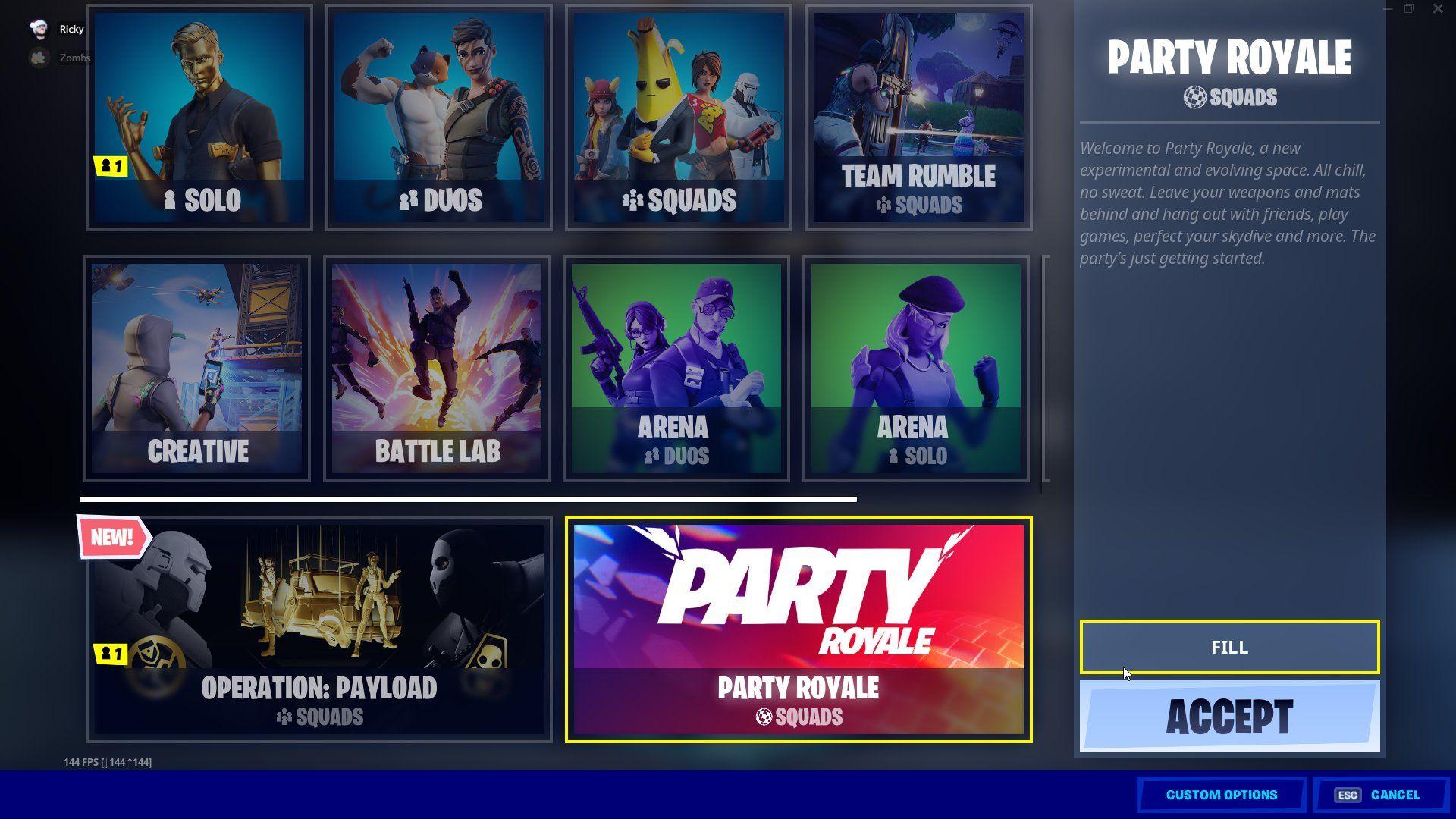 Party-modusen er ment å utforskes i grupper.