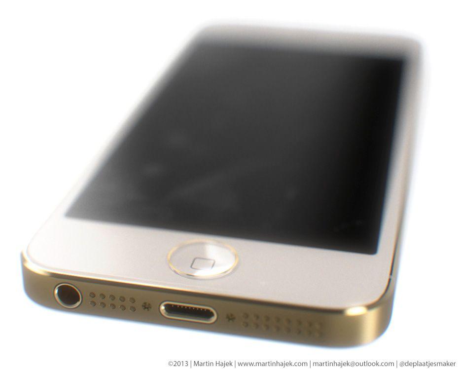 Slik tror designeren Martin Hajek at den nye iPhone 5S kan komme til å se ut. Ringen rundt Hjem-knappen kan ha å gjøre med fingeravtrykksleseren. Foto: Martin Hajek