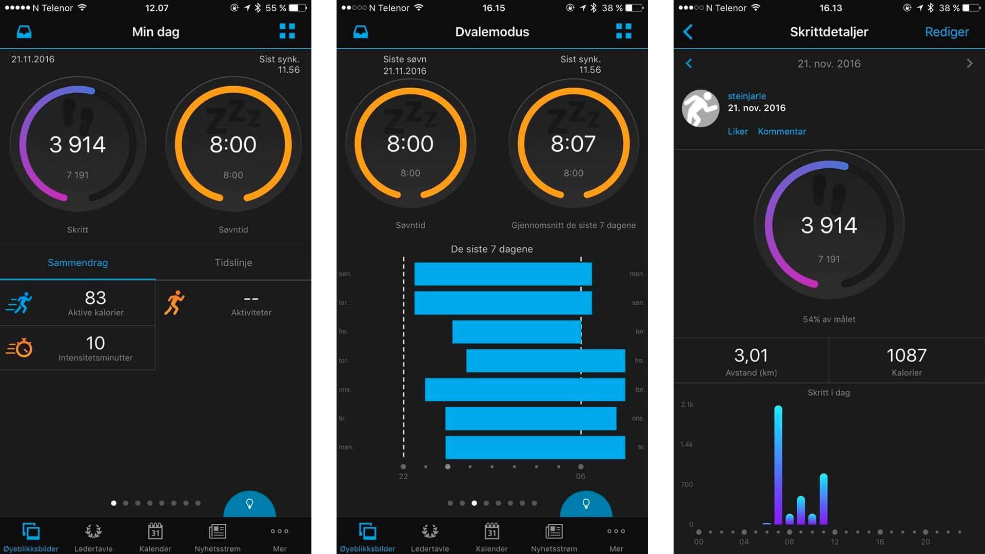 Garmin Connect-appen er langt fra like fargerik og oversiktlig som for eksempel Fitbit-appen.