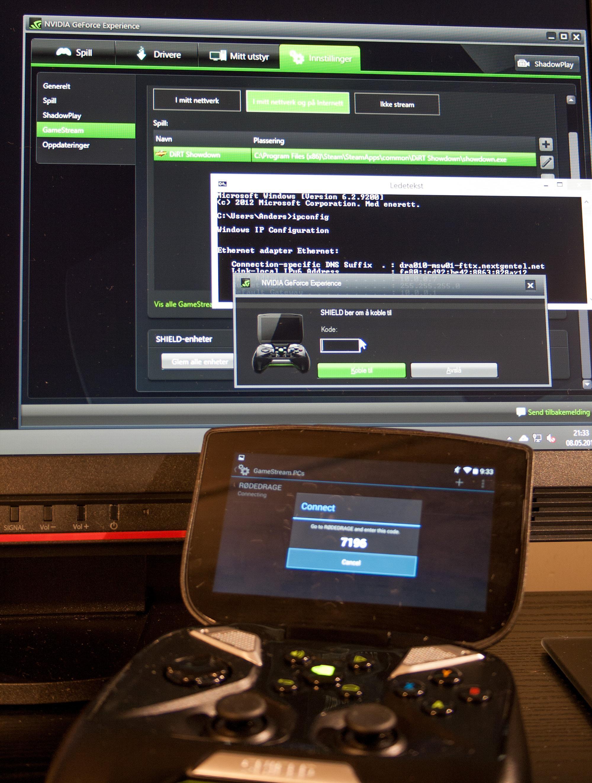 For å parre sammen datamaskinen og Shield-en måtte vi finne IP-adressen til den håndholdte.