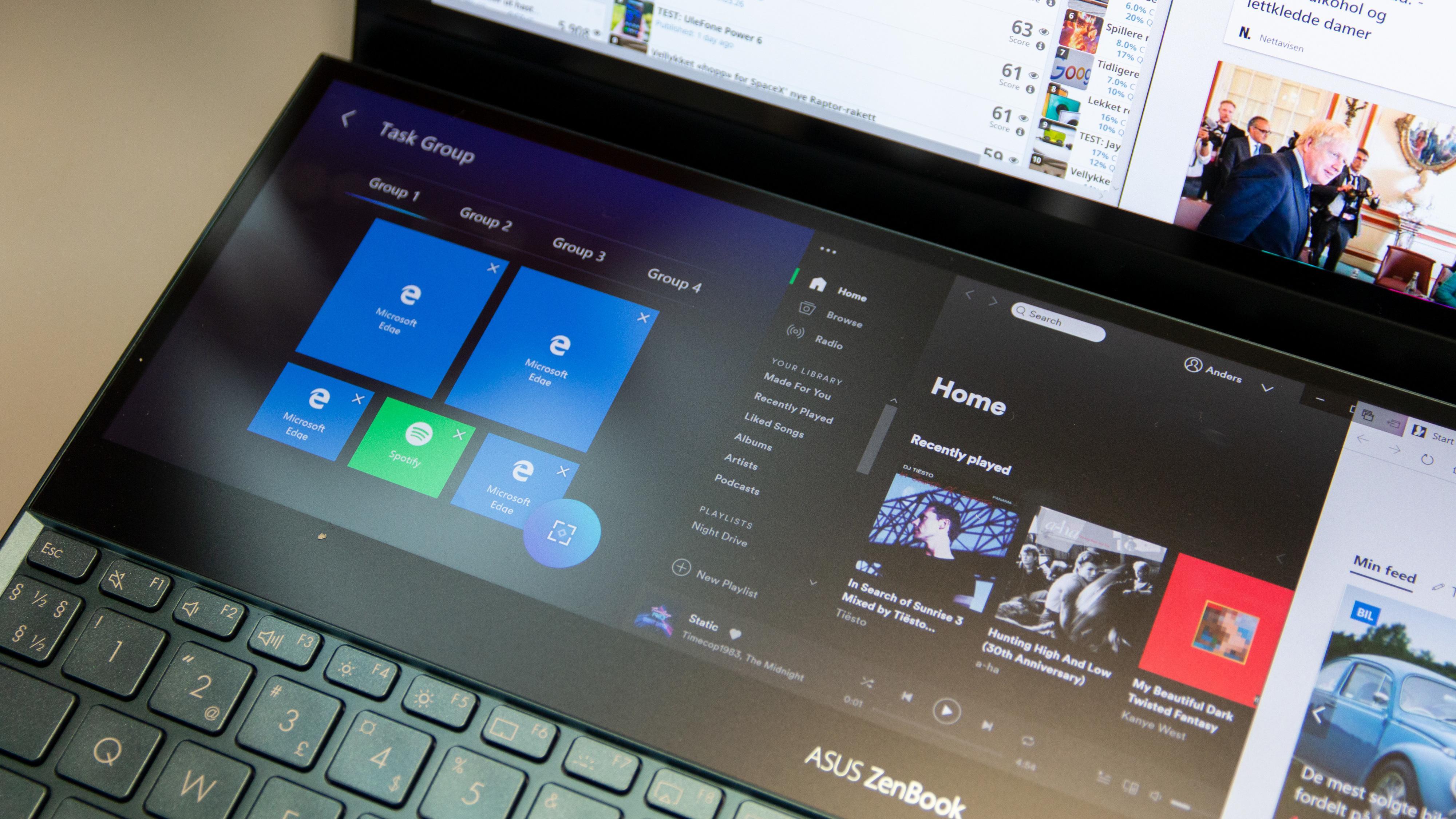 Å sette opp forhåndsdefinerte arbeidsrom med vinduer og apper gjøres lett fra egen programvare på berøringsskjermen.