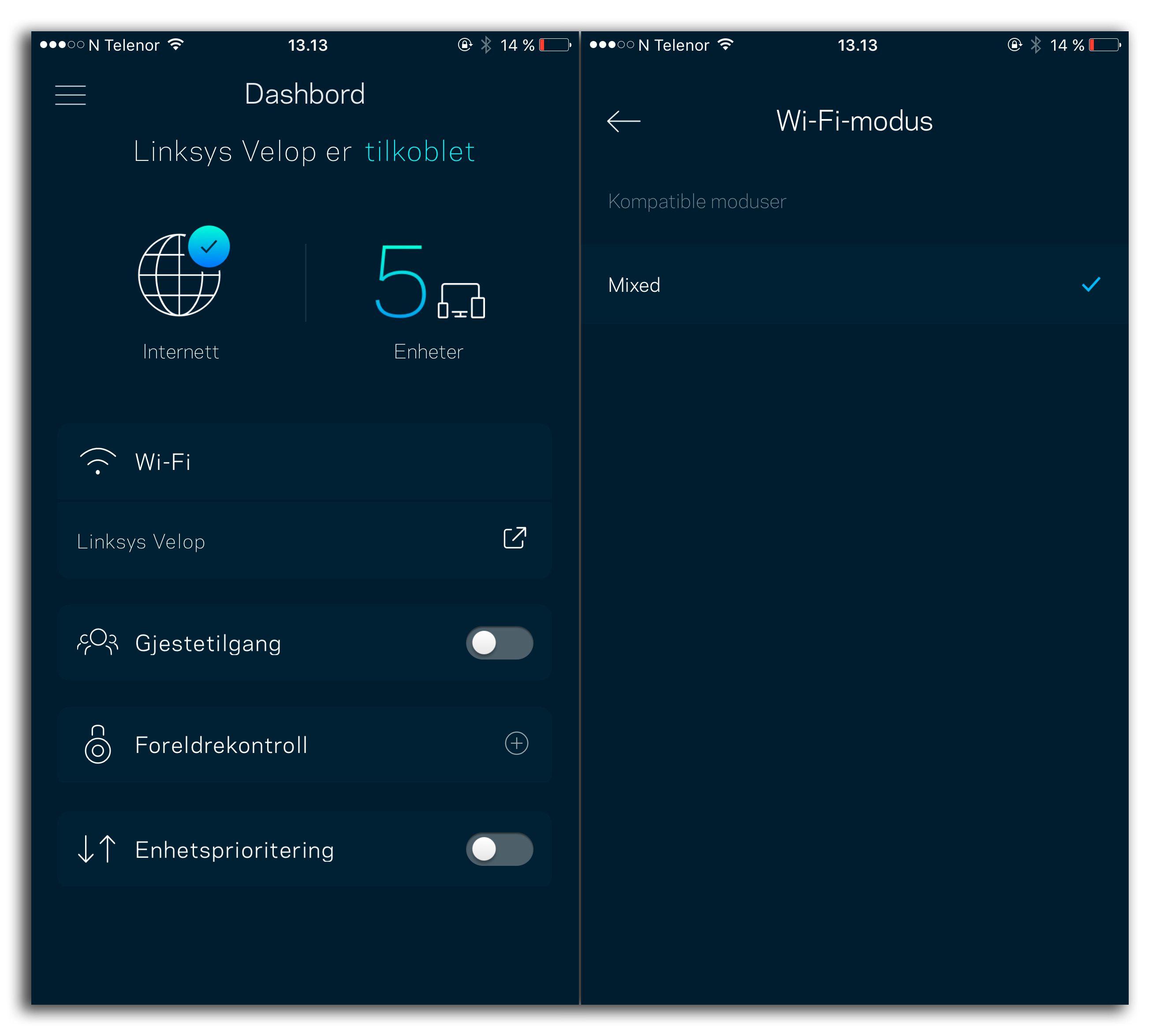 Linksys-appen har særdeles lite å by på av konfigurasjonsmuligheter til Velop. Vi får ikke engang velge hvilket bånd den skal sende på.