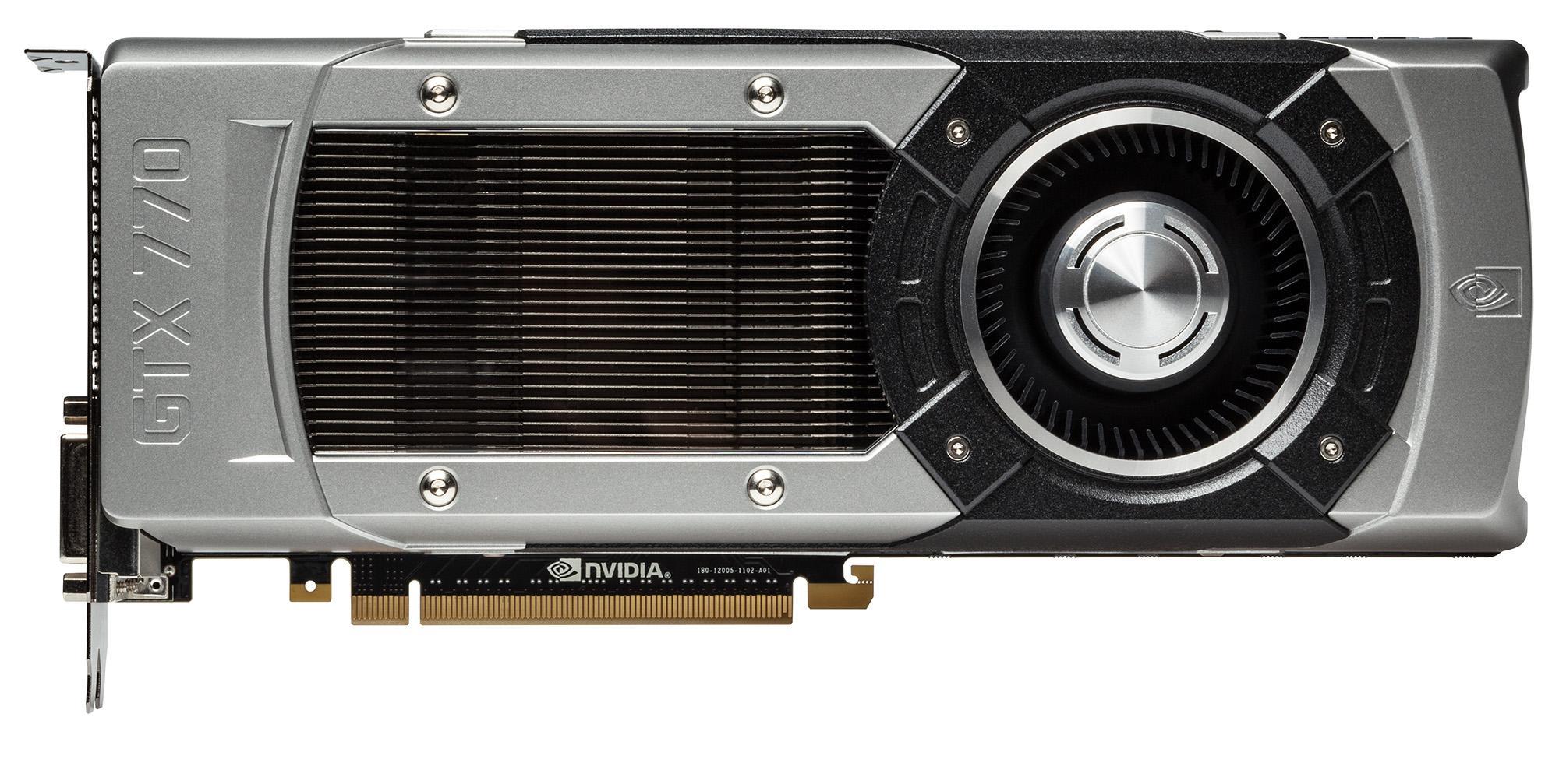 Nvidia GeForce GTX 770 er så godt som identisk med sine to storebrødre på utsiden.Foto: Nvidia