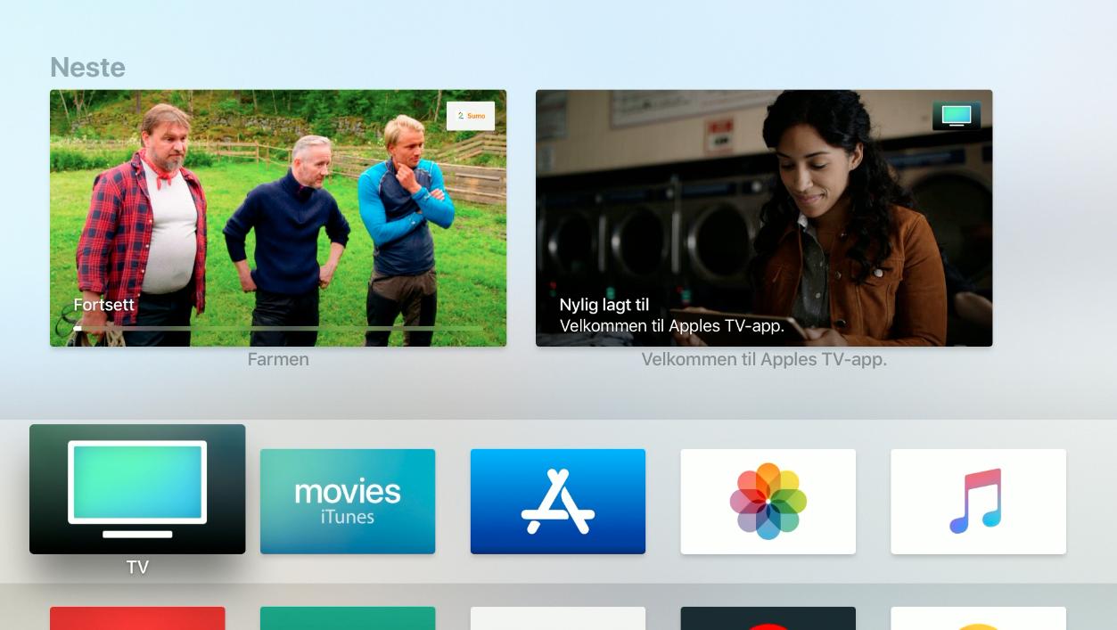 Når du har oppdatert Apple TV-en din til versjon 11.1, dukker det opp et eget TV-ikon.