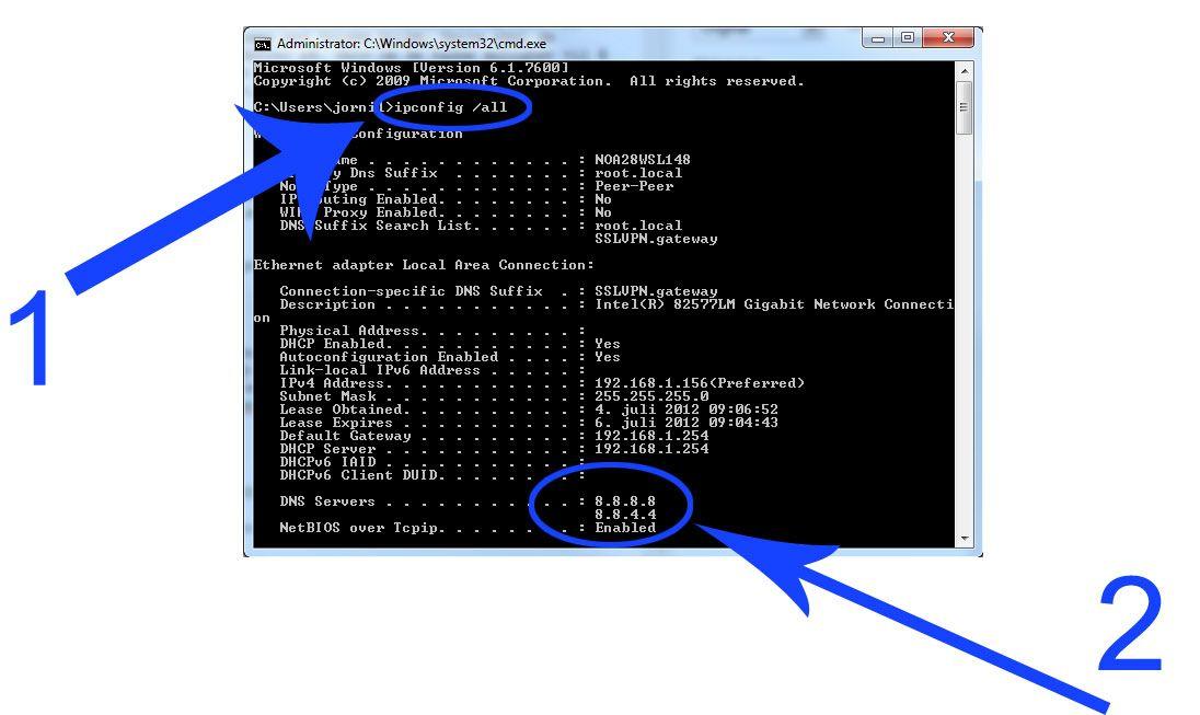 Slik finner du DNS-adressen i Windows.