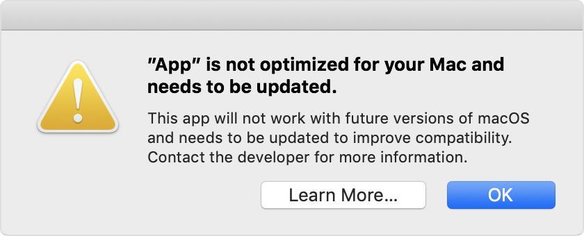 Får du opp en slik melding har du apper som vil slutte å fungere når du oppgraderer til nye MacOS Catalina.