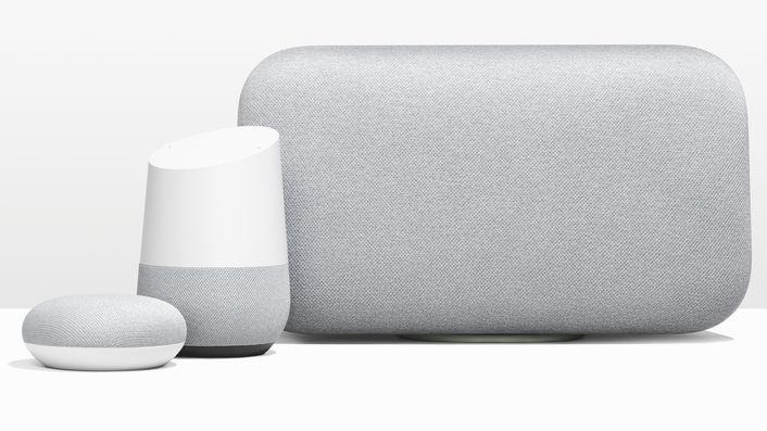 Google har tre smarthøyttalere i Home-serien som kommer til Norge i løpet av året. Her vises Home Mini, Home og Home Max.