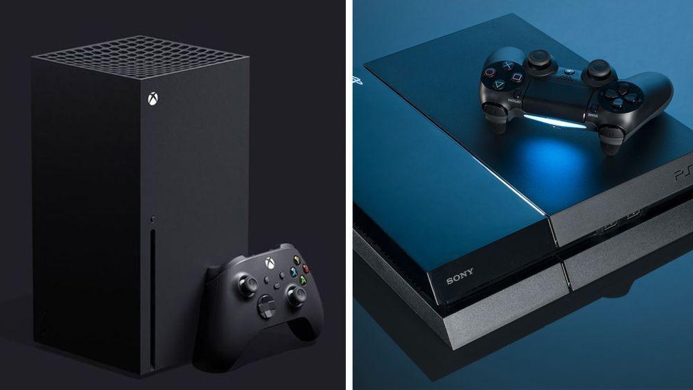Alt er klart for en ny runde i konsollkrigen mellom Microsoft og Sony. Her avbildet Xbox Series X og PlayStation 4. Sony har fortsatt ikke avslørt PS5-designet.