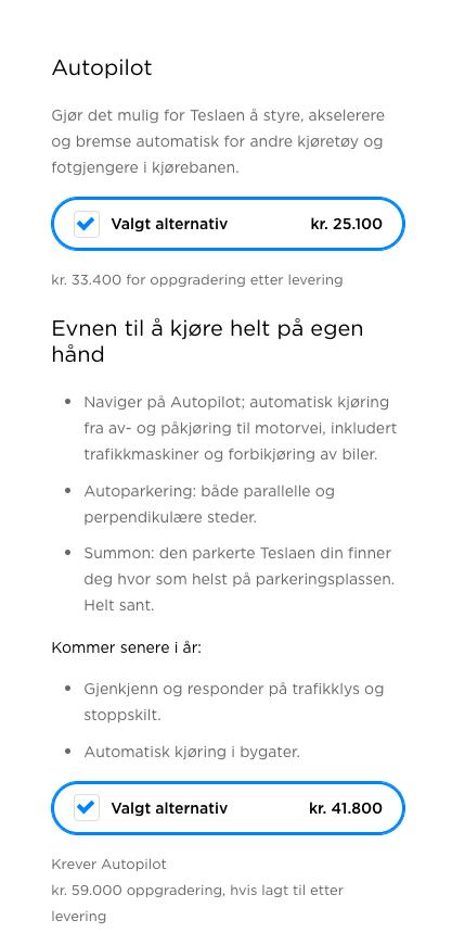 Autopilot-pakken har vært inkludert som standardutstyr i de to modellene vi har kunnet kjøpe i Norge så langt, men er nå et tilvalg.