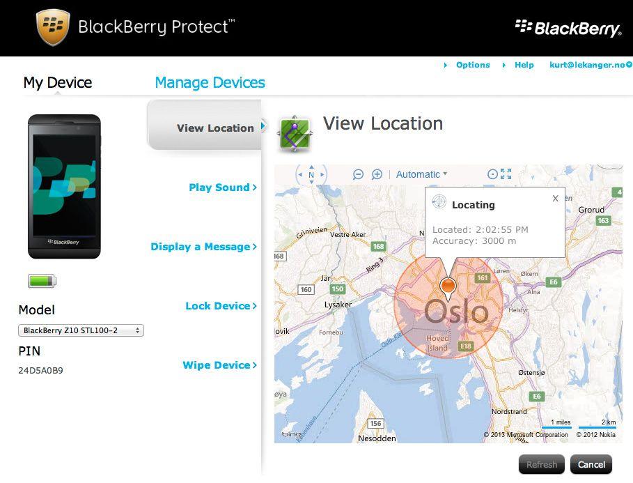 Med BlackBerry Protect kan du lokalisere og fjernslette telefonen. .