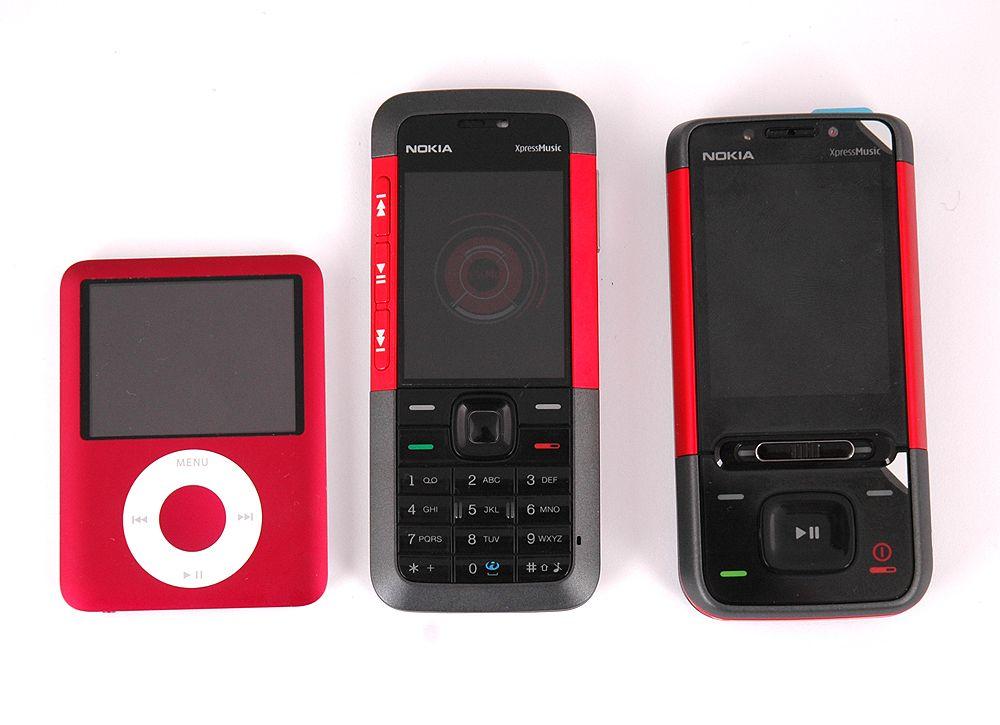 5310 er ikke spesielt stor. Her sammenlignet med Ipod Nano og Nokia 5610.