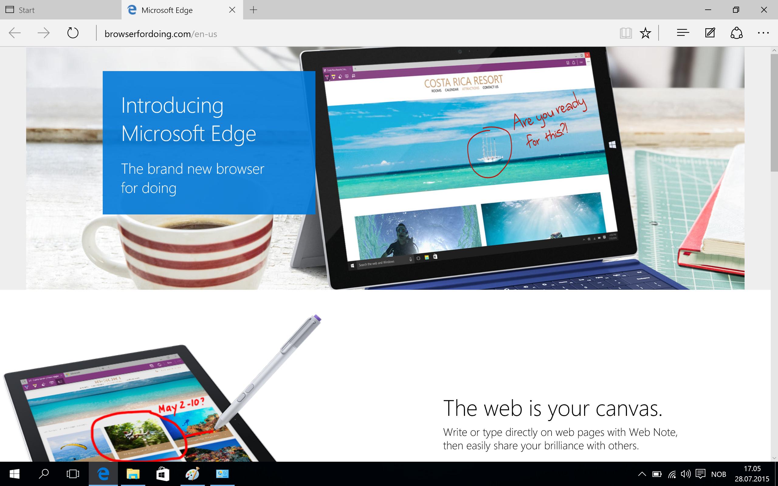 Den nye nettleseren, Edge, er rask og fungerer stort sett bra. Internet Explorer lurer imidlertid fortsatt i kulissene. Foto: Finn Jarle Kvalheim, Tek.no