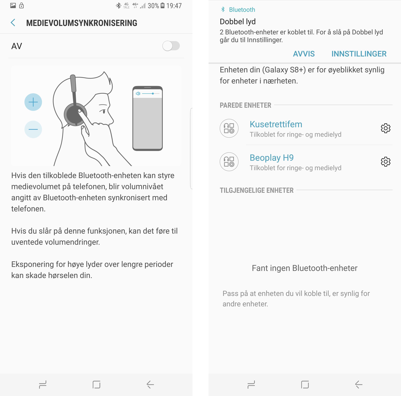 Det er enkelt å holde styr på Bluetooth-enhetene. Koble til på vanlig måte i Bluetooth-menyen, og bruk valgene du får presentert i nedtrekksmenyen. Hvis hodetelefonen støtter det kan du også synkronisere volumkontrollen.
