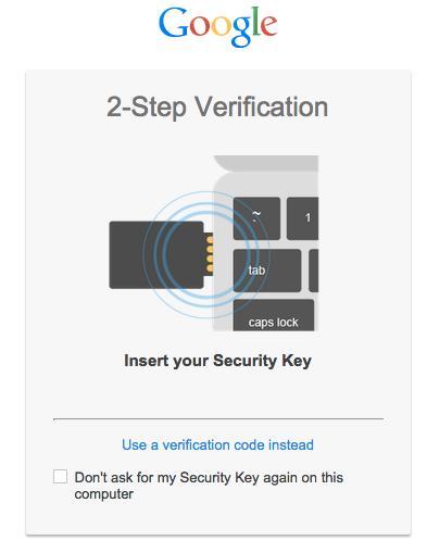 Dette er beskjeden du får opp når du bruker sikkerhetsnøkkelen.Foto: Google