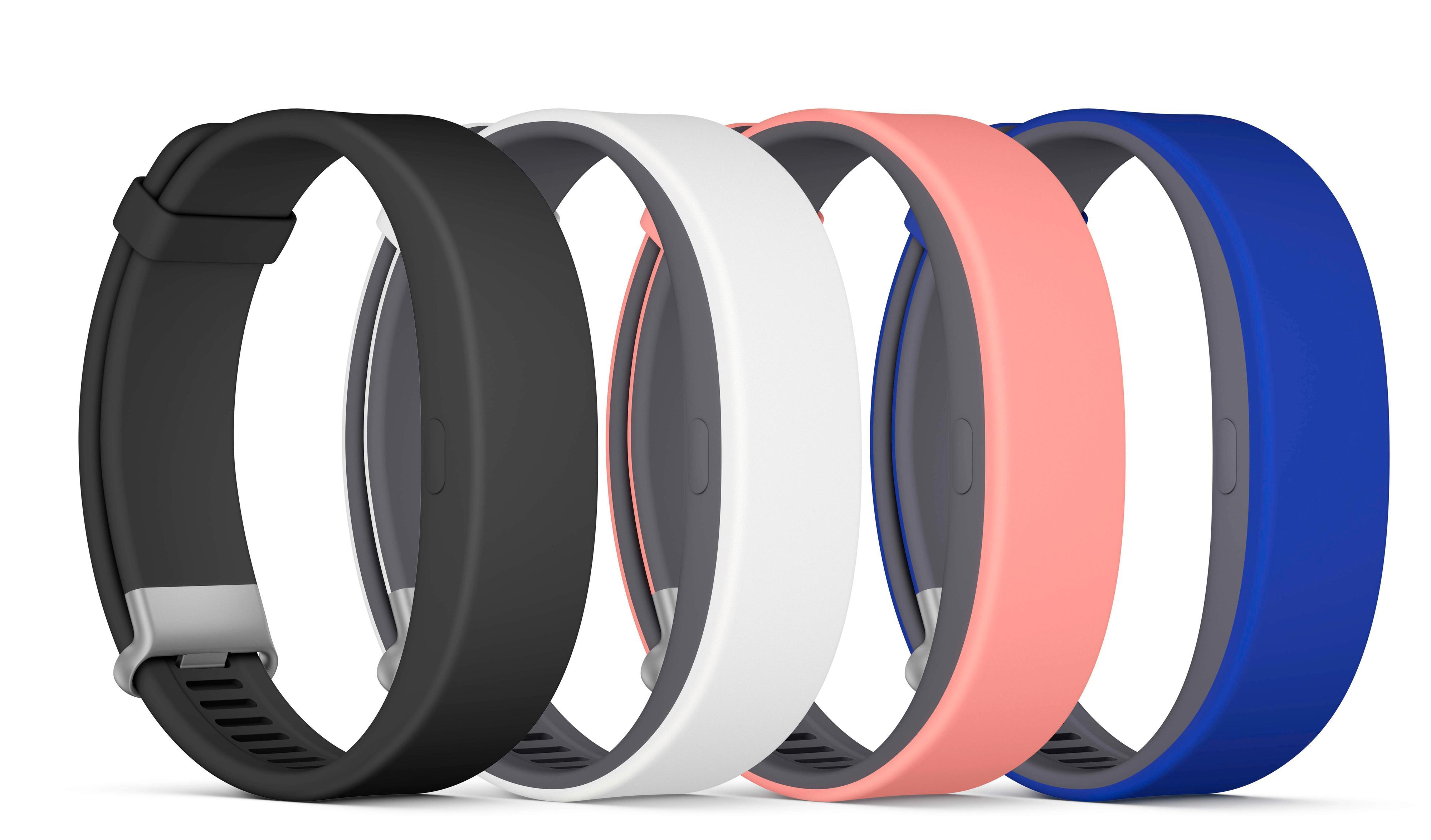 SmartBand 2 kommer i fire ulike farger, men bare svart eller hvitt i første omgang. Foto: Sony