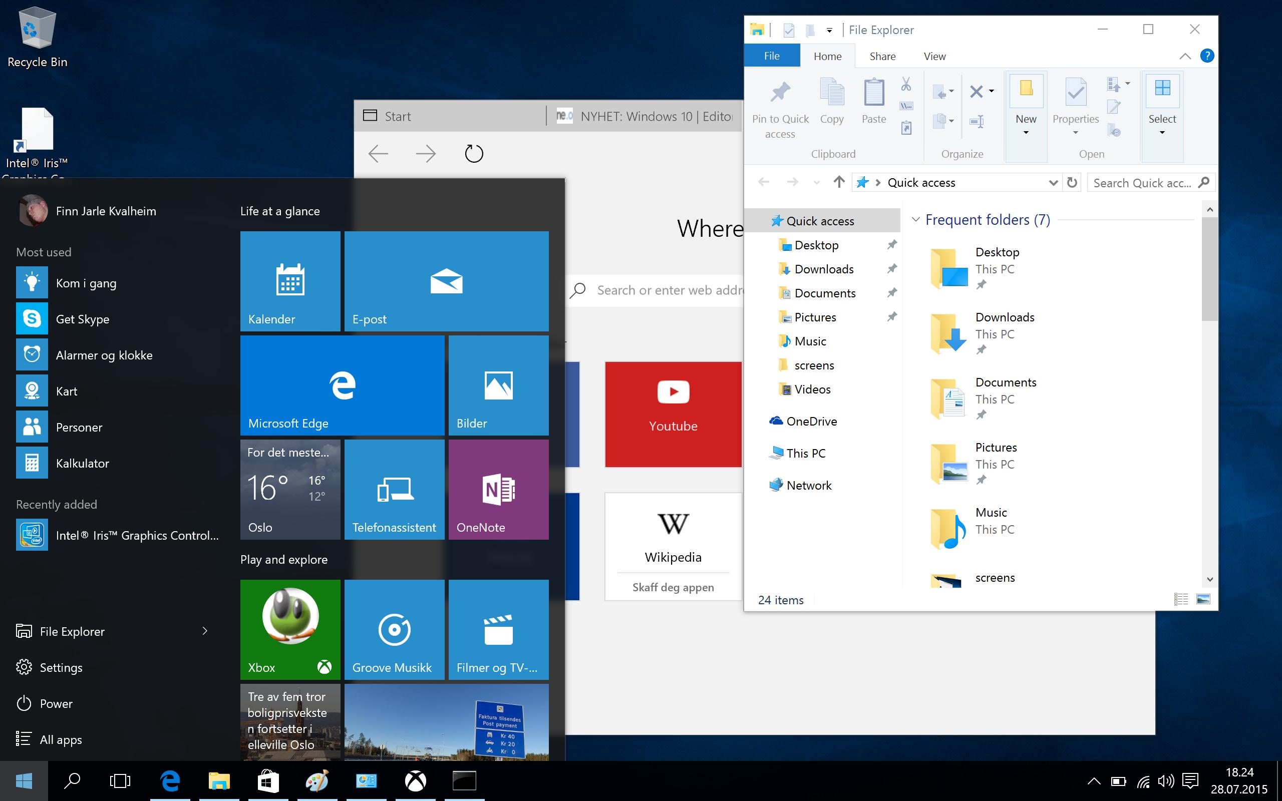 Windows 10 har gått bort fra apper som på død og liv skal dekke hele skjermen. Nå er det vinduer som gjelder igjen - men innholdet i vinduene tilpasser seg skjermstørrelsen. Foto: Finn Jarle Kvalheim, Tek.no