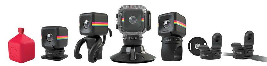 Polaroid Cube kommer med mange forskjellige monteringsmuligheter. Fra venstre til høyre: Pendant, Helmet Mount, Monkey Stand, Waterproof Case and Suction Mount, Bike Mount, Tripod Mount, Strap Mount.Foto: Polaroid