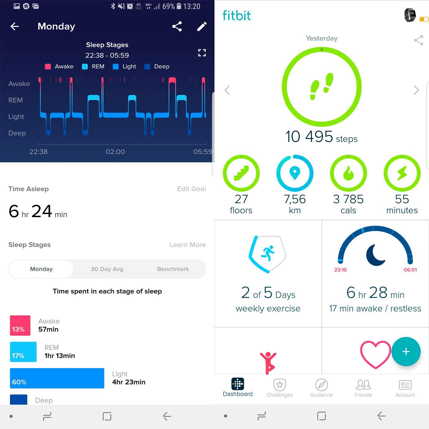 Her ser du litt fra appen til Fitbit. Til høyre ser du dagens aktivitet, mens den vestre viser hvor godt du har sovet.