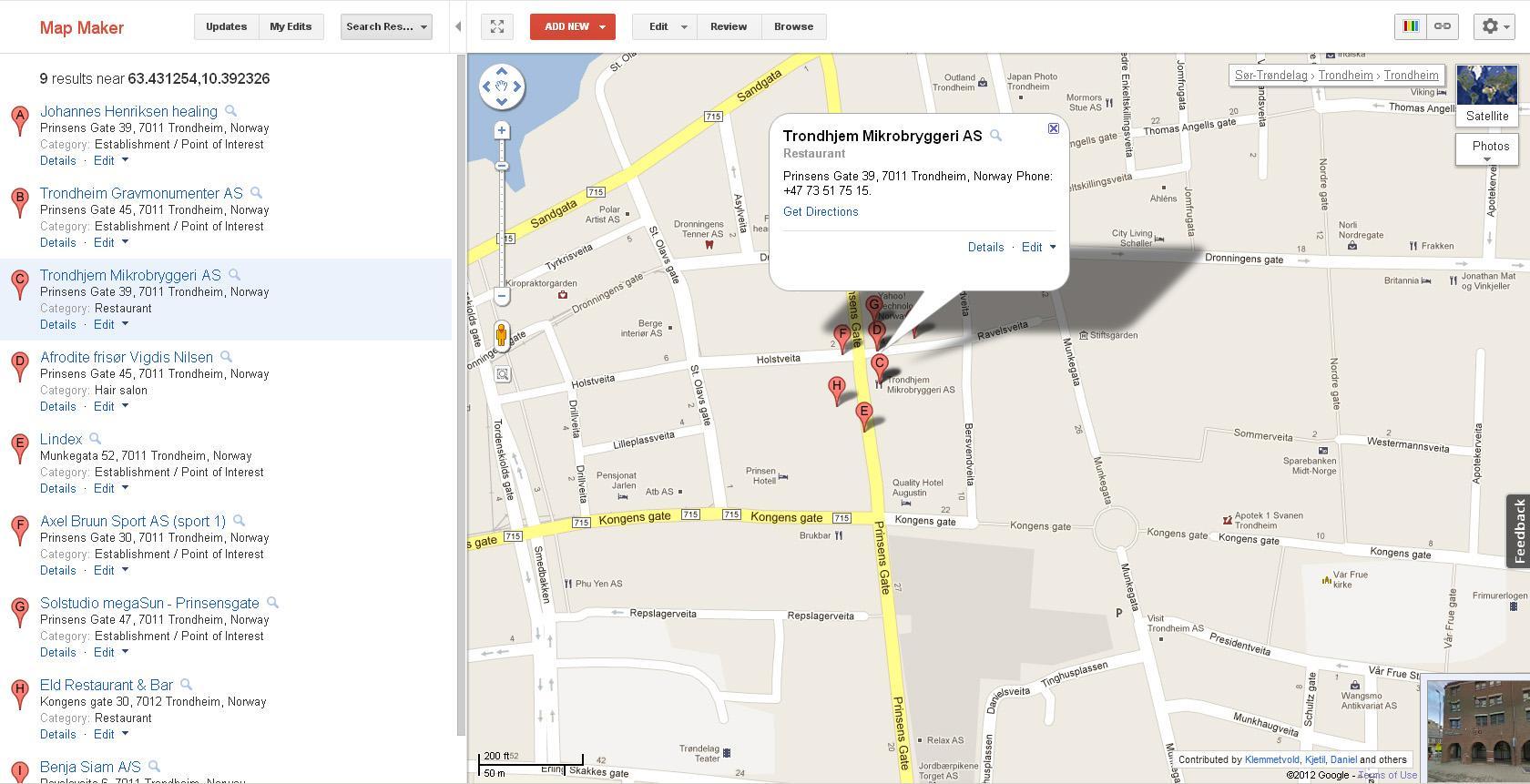 I Map Maker kan du markere et geografisk område for å se hvilke bedrifter som er lagt inn.