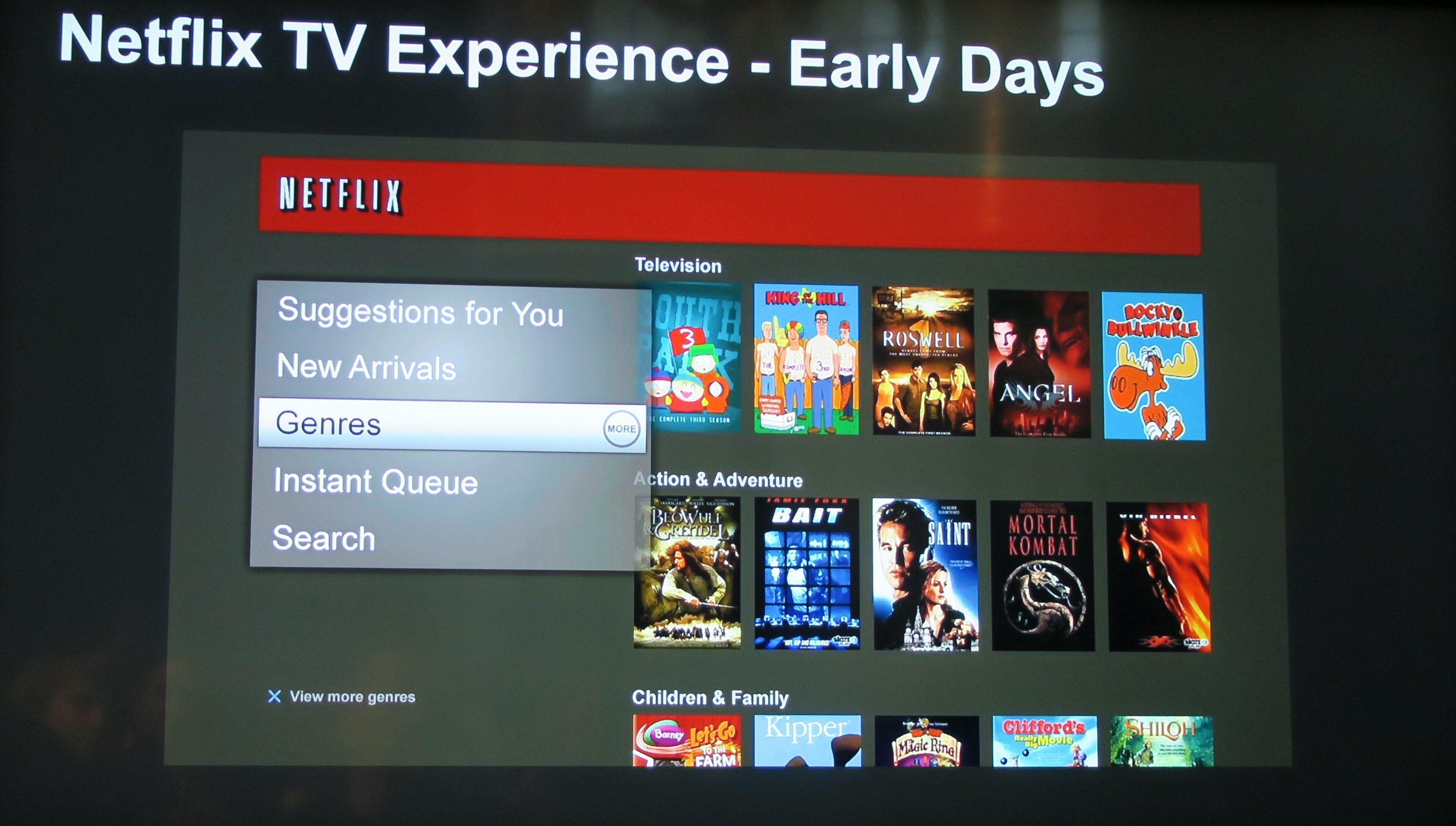 Netflix-forsiden i «gamle dager».