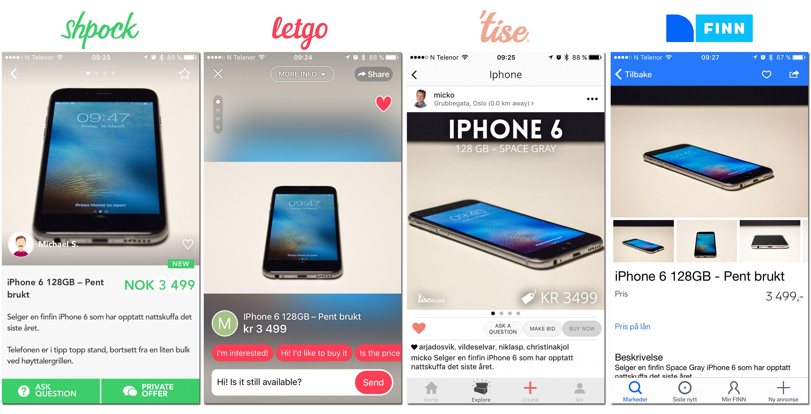 Slik ser det ut inne i annonsene på de forskjellige appene. Vi prøvde også å se hvor vi fikk solgt iPhonen vår først, og ble overrasket.