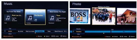 DLNA-grensesnitt på Samsung-TV-er (klikk for større bilde)
