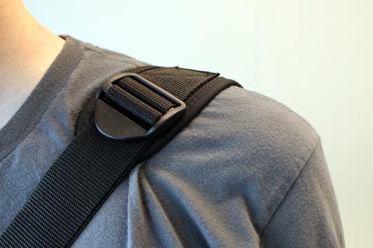 Har du sekken hengende lavt vil det fort bli lite polstring på skulderen.
