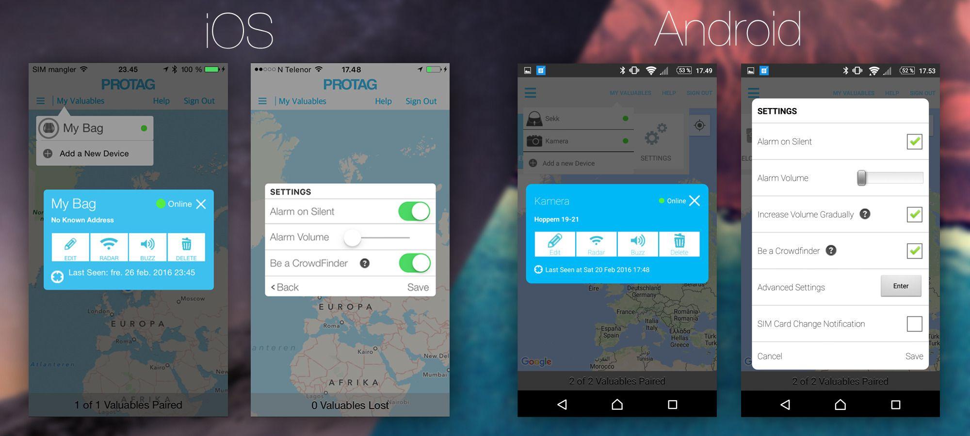 Protag-appen ser nokså lik ut på Android og iOS, men innstillingsmenyen er radikalt annerledes – både funksjonelt og designmessig.