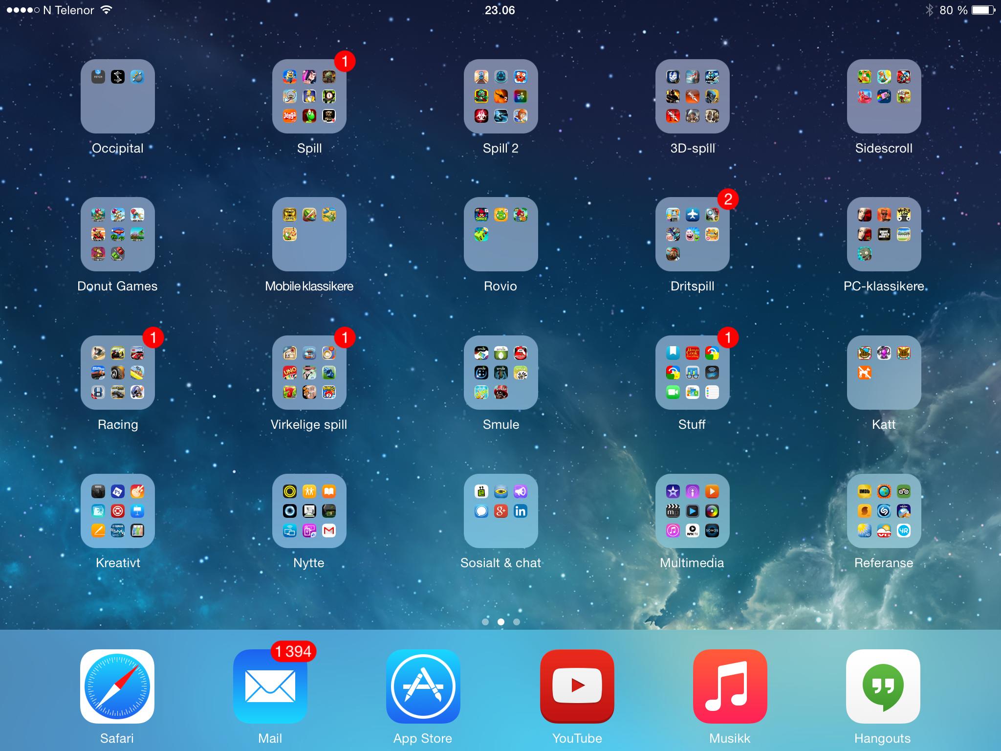 Slik kan en hjemmeskjerm på iPad Air 2 se ut.Foto: Finn Jarle Kvalheim, Tek.no