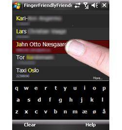 Slik ser kontaktlisten til Finger Friendly Friends ut. (Alle bilder: JottoSoft)