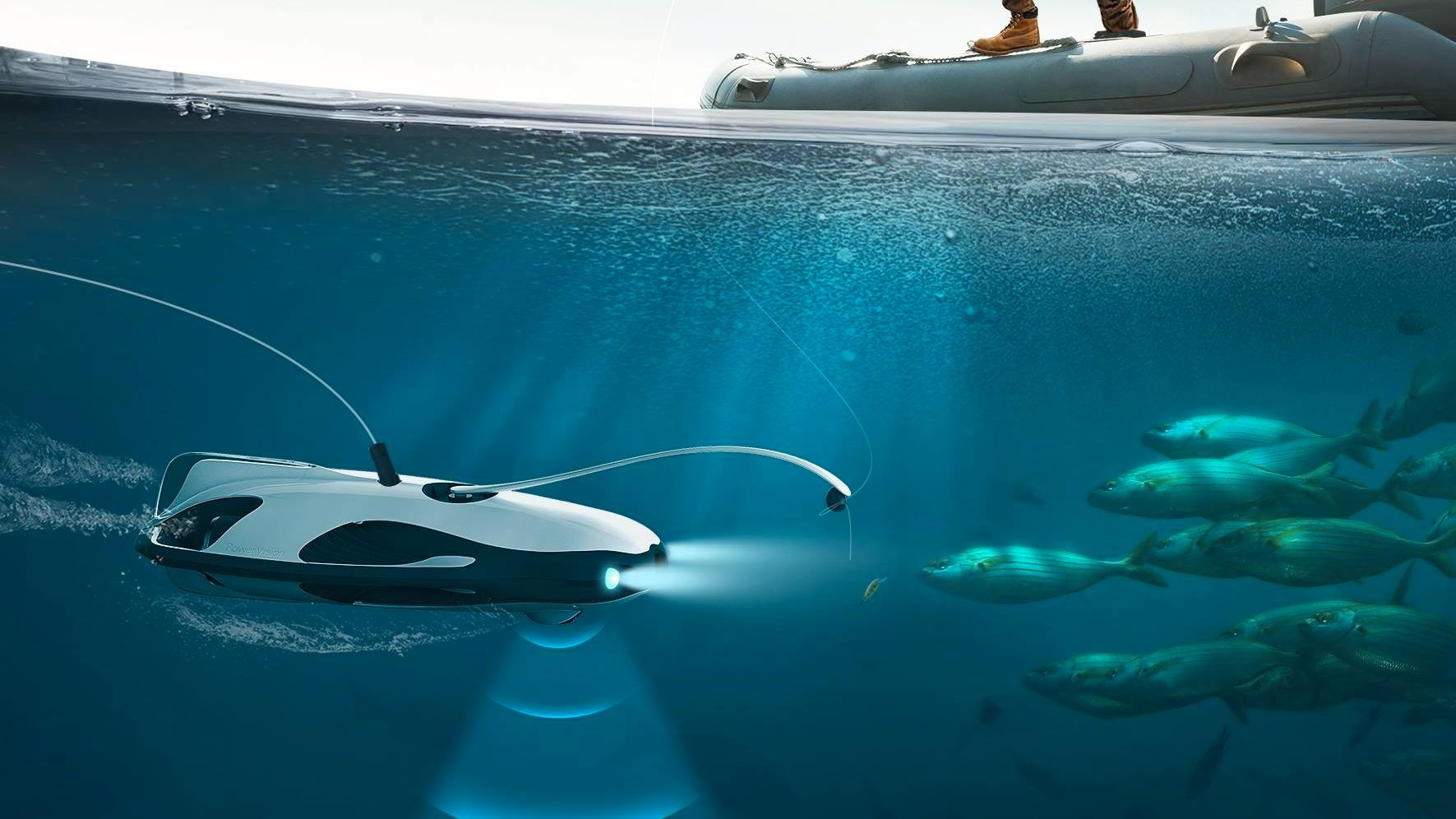 Denne undervannsdronen har 4K-oppløsning og hjelper deg å fiske
