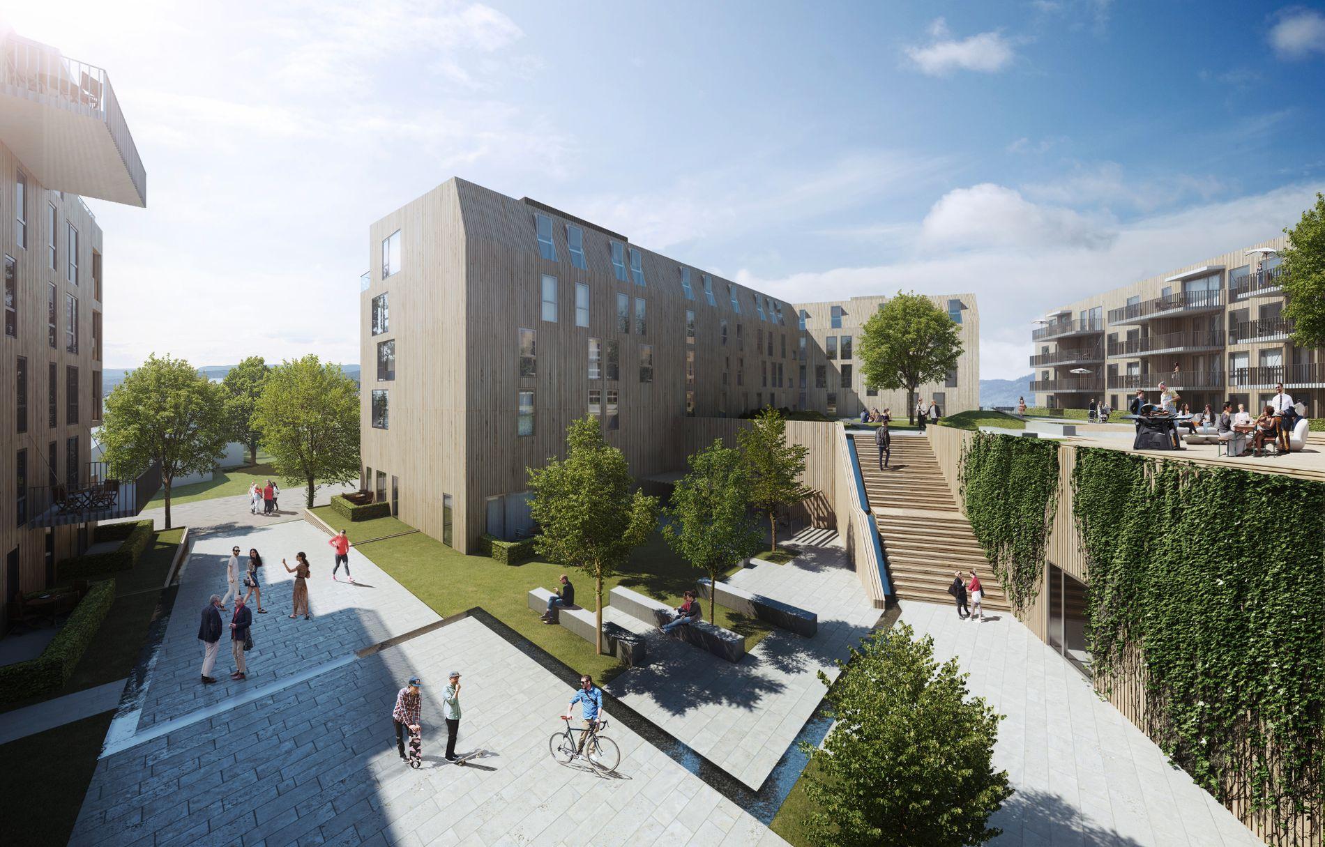 SOSIALE SONER: Omkranset av leilighetsbyggene blir det en grønn og fredelig oase for beboerne.