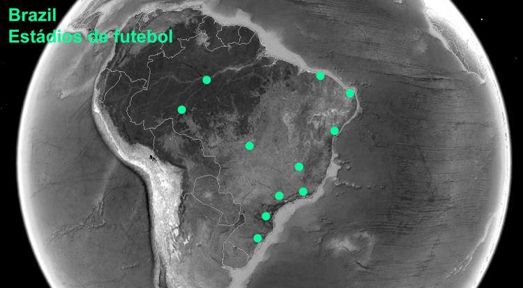 Kart som viser hvor de 12 stadionene ligger.Foto: 1week1project